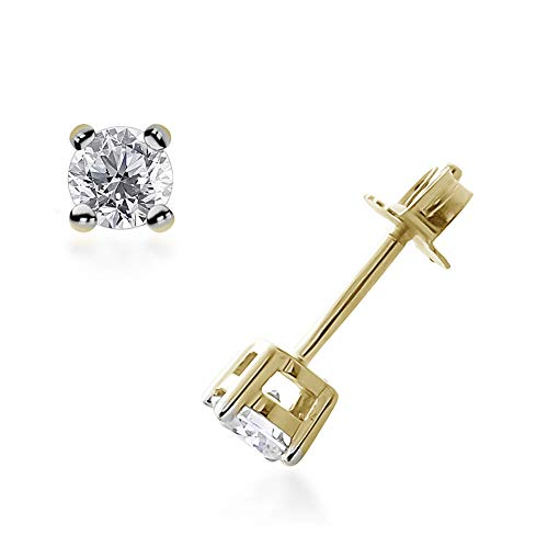 TJC 0.25ct. White Diamond (I3/G-H) Solitaire Stud Earrings for Women in Prong Setting with Push Back Valentine's Day Gift in 9ct Yellow Gold SGL Certified
