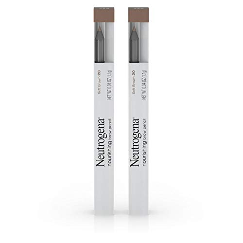 Neutrogena Nourishing Eyebrow Pencil with Spoolie Brush, 2-in-1 Eyebrow Filler In Shade Soft Brown 20, .04 oz (Pack of 2)