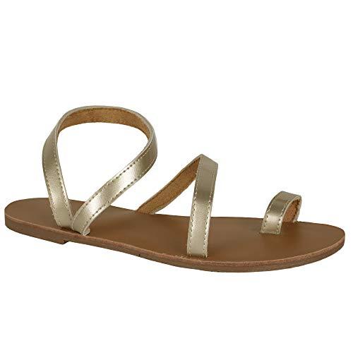 Syktkmx Womens Toe Ring Strappy Slip on Flat Slide Sandals