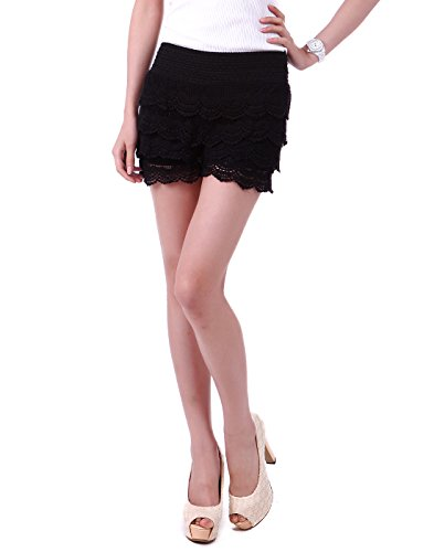 HDE Women's Lace Shorts Fitted Scallop Hem Crochet Mini Hot Pants (Black, X-Large)
