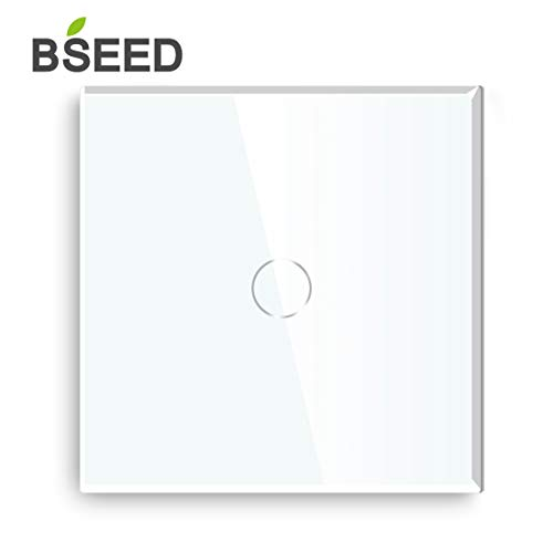 BSEED Touch Panel Wall light Switch Glass Screwless Europe Standard 1 Gang 1 Way Whtie
