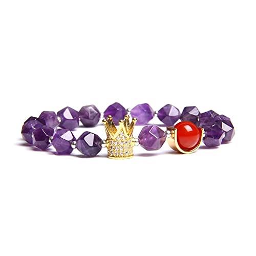Unisex naturale rotondo rosso occhio di tigre agate viola ametiste turchesi bianchi perline braccialetto gioielli per donna femminile (Lunghezza: 21 cm, Colore metallo: 5 ametista)