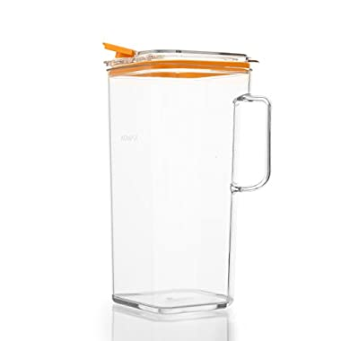 Komax Tritan Clear Large (2 quart) Pitcher With Orange Lid BPA-Free - Great for Iced tea & Water