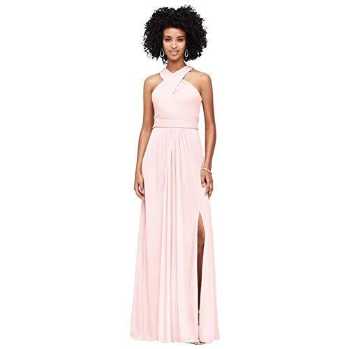 David's Bridal Crisscross High-Neck Mesh Bridesmaid Dress Style F19952, Petal, 0