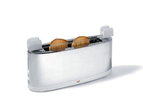 Alessi SG68 W Design Toaster mit Brötchenaufsatz, aus Edelstahl und PC, weiß