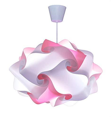 CREATIV LAMP - Suspension Luminaire | Abat-Jour à Suspendre au Plafond | Pour Décoration Salon, Chambre Enfant, Fille, Ado, Adulte | Ampoule Led Incluse - Ø40 cm Mix Rose Pastel