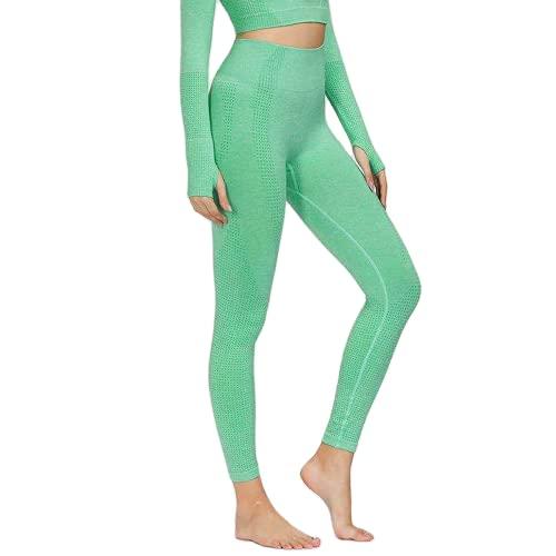 QTJY Leggings sin Costuras para Correr para Mujer, Pantalones de Yoga, Cintura Alta, Ejercicio Push-up, Estiramiento, Gimnasio, Celulitis, Leggings F L