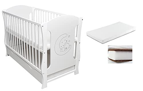 Rumdum24 - Cuna infantil (120 x 60 cm, incluye cajón, colchón de espuma de coco)