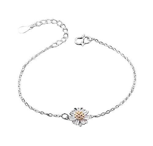 Qingsun Damen Armband Fußkettchen Kleine Gänseblümchen Sonnenblume Chrysantheme Fußkettchen Schön Schmuck Zubehör (Silber)