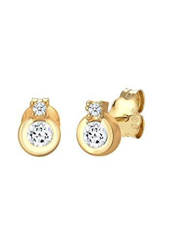 DIAMORE Ohrringe Damen Ohrstecker Klassik Kreis Topas mit Diamant (0.04ct.) in 585 Gelbgold