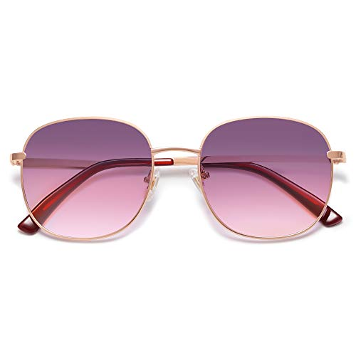 SOJOS Classic Square Sunglasses for Women Men with Spring Hinge AURORA SJ1137 with Rose Gold/Grey&Rose