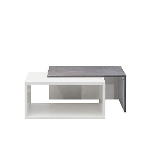 Movian Turia - Mesa de centro,110 x 70 x 73cm (largo x ancho x alto), blanco y efecto hormigón
