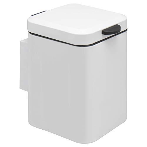 bremermann Papelera de pared de 3 litros, cuadrada, cierre suave, color blanco