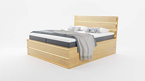 Hoss Massivholzbett CASA in Eiche   160 x 200cm   mit Stauraum – mit Zwei seitlichen Schubkästen, Holz Natur, 160x200 cm
