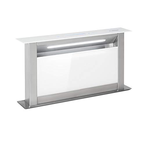 Klarstein Royal Flush Eco Tisch-Dunstabzugshaube - Downdraft, versenkbar, Abluft/Umluftbetrieb, leise: 60 db, Touch-Bedienung, LED-Kochfeldbeleuchtung, 60 cm, Abluftleistung: 458 m³/h, weiß