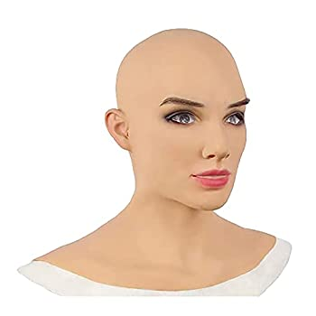 Silicone Realistic Female Head Mask,Handmade Face Mask for Halloween Cosplay Costumes with Makeup Female Realistic Latex Mask Crossdresser Mask Headgear Realistic Party Decor Costumes