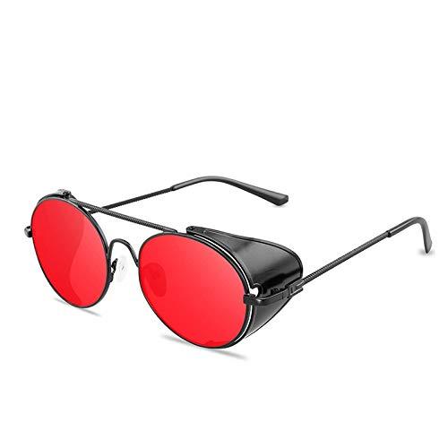 ShSnnwrl Único Gafas de Sol Sunglasses Gafas De Sol con Montura De Metal Redondas Estilo Steampunk Gótico Retro Hombres Mujeres D