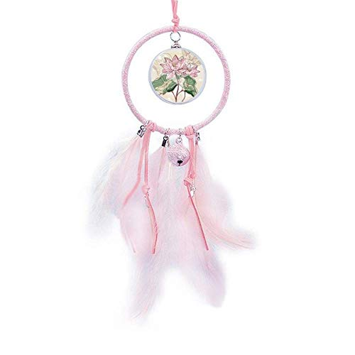 YaoX Lotus Flower Lotus Root Watercolor Plant Dream Catcher Small Bell Bedroom Decor