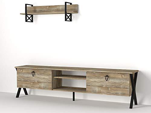 Alphamoebel 4425 Zeth Wohnwand Anbauwand TV Lowboard mit Metallfüße Wohnzimmerschrank, Walnuss, Holz, Hängeregal mit Metall, 180 x 46,8 x 31,5 cm