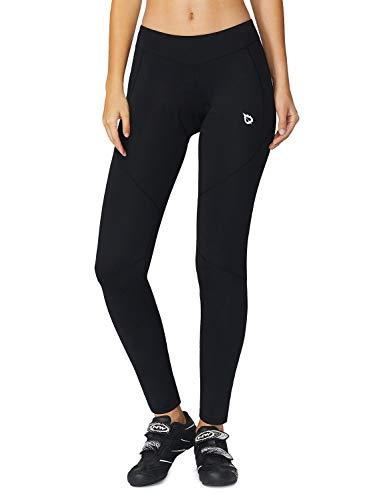 BALEAF Women's 3D Padded Cycling Tights Long Mountain Bike Pants BicycleLeggings Wide Waistband Black Size L