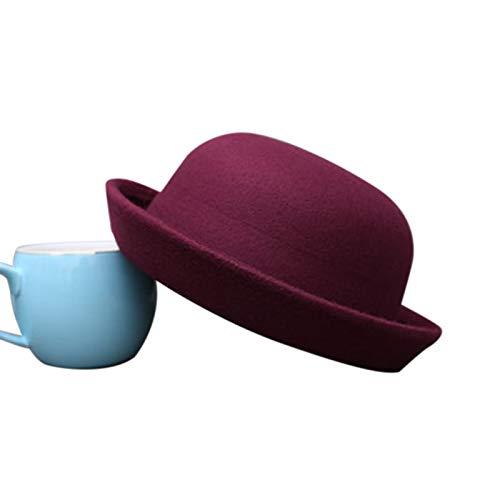 HDDDMZ Hüte,Frau Winter Hat Vintage Fedora Für Kinder Mode Süße Wein Rot Elegante Trendige Wollfilz Bowler Hüte Für Mädchen Und Jungen Warme Mütze