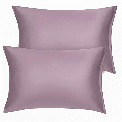 YeVhear King - Juego de 2 fundas de almohada de satén con cremallera y 2 fundas de almohada de satén, color morado