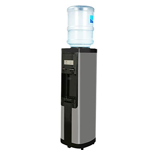 Vilobos Top Loading Water Dispenser Hot Cold Water Cooler Dispenser-Holds 3 or 5 Gallon Bottles, Child Safety Lock,Removable Drip Tray for Home Office,Black