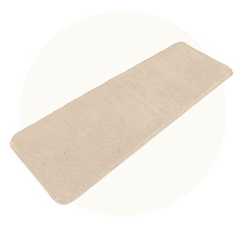 Carvapet Alfombra de Baño Alfombra Ducha Antideslizante Suave Felpa Microfibra Alfombras y Moquetas Alfombrilla para Baño (Beige, 50x150cm)