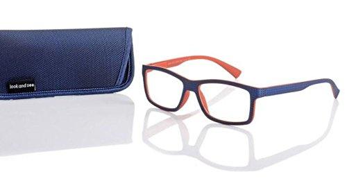 Designer leesbril +1,0 blauw/oranje unisex flexbeugel leeshulp merk