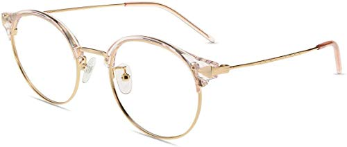 Firmoo Gafas Luz Azul Mujer Hombre,Gafas Gaming Anti UV para PC, Móvil TV, Tablet Protección contra Luz Azul, S1420 Oro Rosa