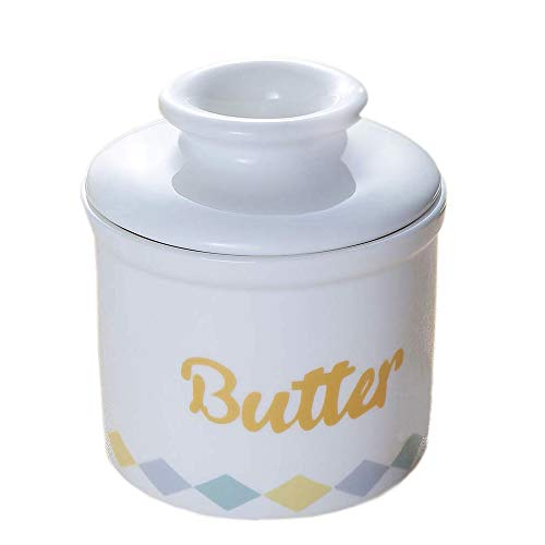 Butterdose aus Porzellan, französische weiße Keramik-Butterdose mit Deckel