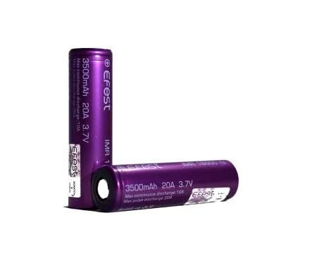 EFEST 3.5K mah 20A IMR High Drain Flat Top Single Battery (2 in a Pack) - with Protective Plastic...