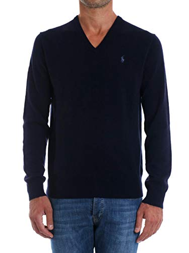 Polo Ralph Lauren Long Sleeve Sweater LS VN PP maglia uomo maglione in lana collo a v (S, Hunter Navy)