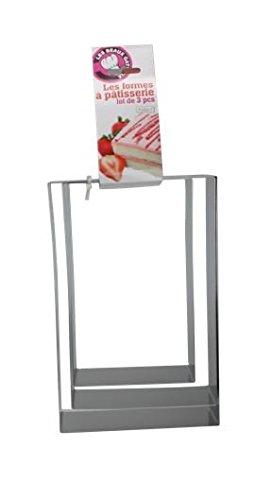 Ard'time BG-3RECT Lot de 3 Rectangles en INOX Mes Beaux gâteaux, Acier Inoxydable, 25 x 16 x 6 cm