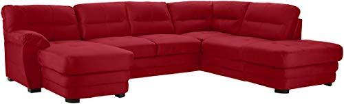 Mivano Wohnlandschaft Royale, Zeitloses Bettsofa in U-Form mit Schlaffunktion, kleinem Bettkasten und hohen Rückenlehnen, 316 x 90 x 230, Mikrofaser, rot