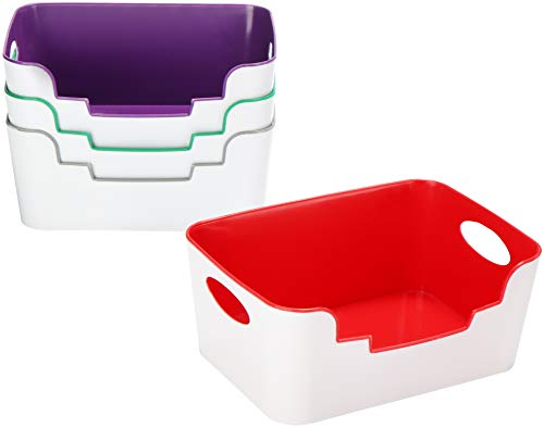 com-four® 4X Canasta de Almacenamiento sin Tapa, Caja de plástico como Sistema de organización, Caja de Almacenamiento para Oficina, Garaje, sótano (4 Piezas - Canasta de Almacenamiento)