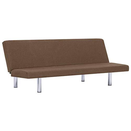 vidaXL Schlafsofa mit 3 einstellbaren Positionen Sofa mit Schlaffunktion Couch Gästebett Bettsofa Schlafcouch Polstersofa Wohnzimmer Braun Polyester