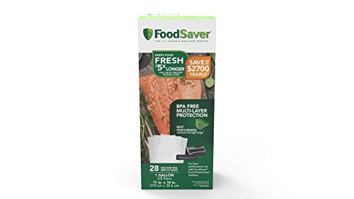 FoodSaver 1-Gallon Precut Vacuum Seal Bags with BPA-Free Multilayer Construction for Food Preservation, 28 Count