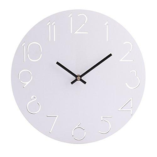 tenger Horloge Pendule Murale Style Vintage - Diamètre 30 cm Silencieuse Rond Bois Horloge Décoration