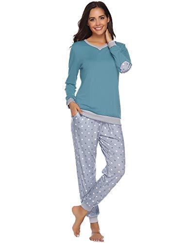 Hawiton Damen Schlafanzug Baumwolle Pyjama Lang Zweiteilige Nachtwäsche Hausanzug Sleepwear Langarm Rundhals