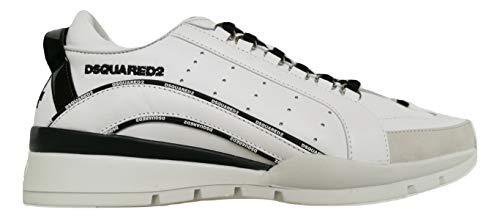 Dsquared Zapatillas de hombre Low Top 551 Zapatillas de piel SNM0122 01503113 M072 Blanco Blanco Size: 43 EU