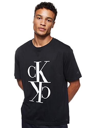 Calvin Klein Jeans Herren Mirrored Monogram Reg Tee Hemd, Ck Schwarz/Weiss, M