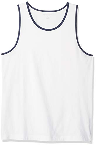 Amazon Essentials – Camiseta de tirantes de corte entallado para hombre, Blanco/Azul, US M (EU M)