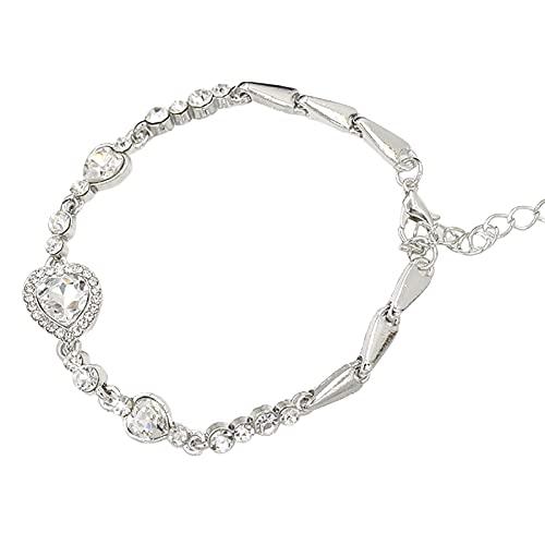 XPT Pulsera para mujer, elegante con forma de corazón, color azul, aleación de diamantes de imitación, ajustable, elegante, para fiestas, uso diario, color blanco