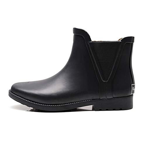LINGZE Botas de Lluvia de Tobillo Corto para Mujer Zapatos de Agua Chelsea Ligeros Botines de Goma cómodos