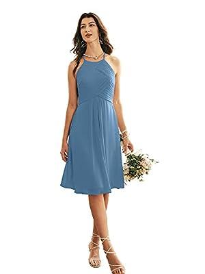 ALICEPUB Halter Chiffon Bridesmaid Dress Short Cocktail Formal Dresses for Women Party, Dusty Blue, US12