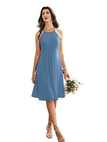 ALICEPUB Halter Chiffon Bridesmaid Dress Short Cocktail Formal Dresses for Women Party, Dusty Blue, US4