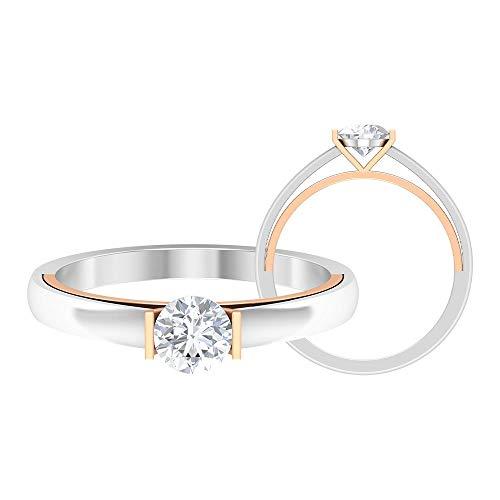Anillo de compromiso vintage, anillo de diamante redondo HI-SI 1/2 CT, anillo de boda solitario, anillo de declaración, anillo de novia único, 14K Oro rosa, Diamante, Size:EU 68