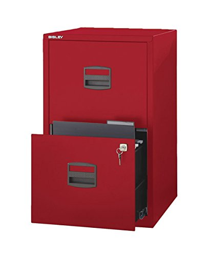 Bisley Two Drawer Steel Home or Office Filing Cabinet, Cardinal Red (FILE2-RD)