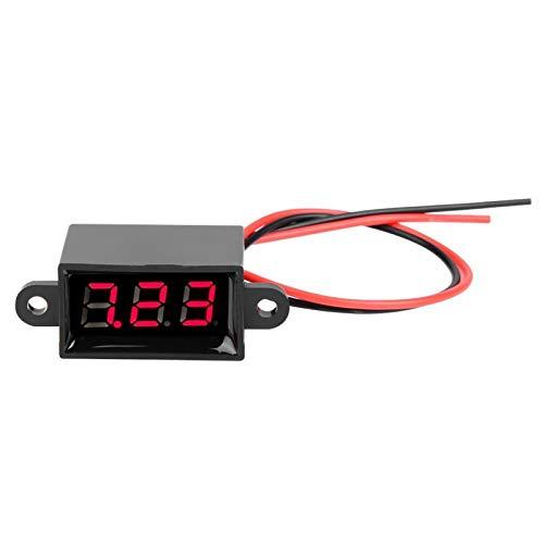 Shipenophy Pantalla LED sellada Voltímetro Digital de Dos Cables a Prueba de Agua de Alta presión Medidor de Voltaje de 0.28(Font Backlit Red)